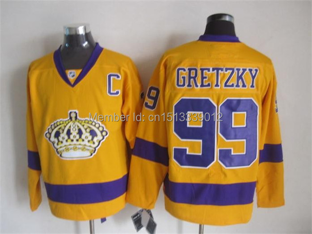 c245ee7bffd 2015 New Style Gold Wayne Gretzky jersey  99 LA Los Angeles Kings Gold  Purple Premier Player alternate jersey Hockey Jerseys