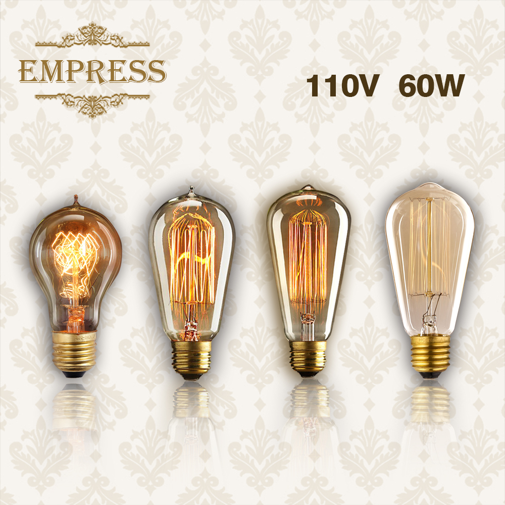 60w Vintage E27 Lampada Incandescent Edison Bulb Lamp Light Outdoor Lighting Filament 110V DIY Rope Pendant Lamp Retro Luminaria