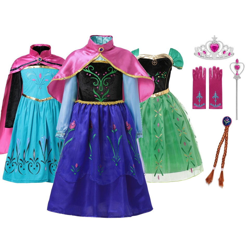 MUABABY Girls Anna Dress with Cape Children Summer Princess Party Cosplay Costume Kids Flower Fantasy Dress up 2 4 6 8 10 Years