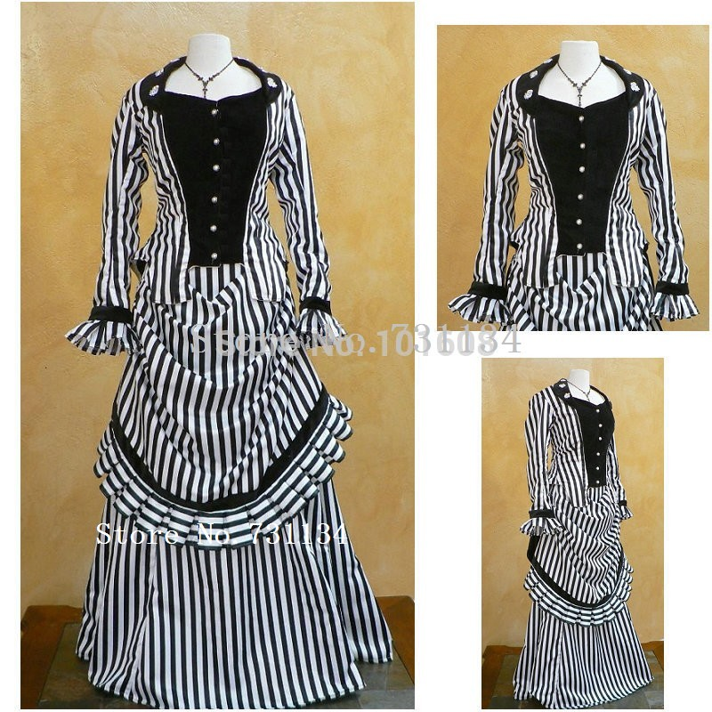 2016 Black Striped Two Pieces Civil War Southern Belle Historical Dresses Women Renaissance Medieval Long Southern Belle Gowns