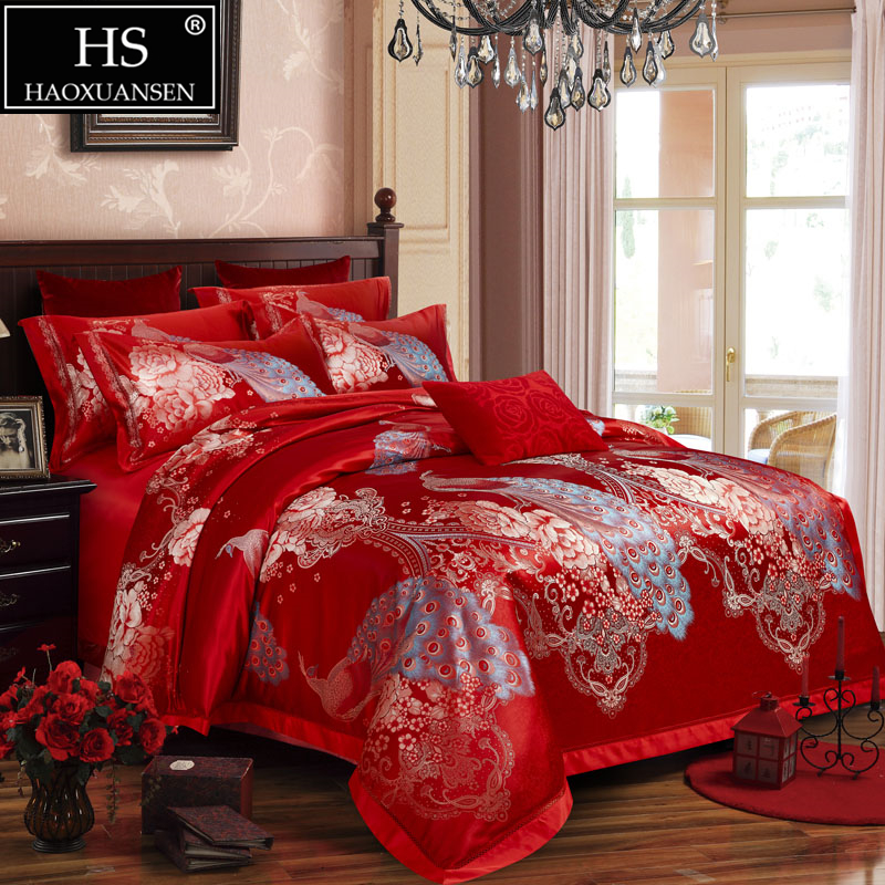 Home Textile Queen King Size Four Pieces Bedding Set Gift Box Red Blue Golden Wedding Jacquard  Peacock Peony Bedroom Comforters