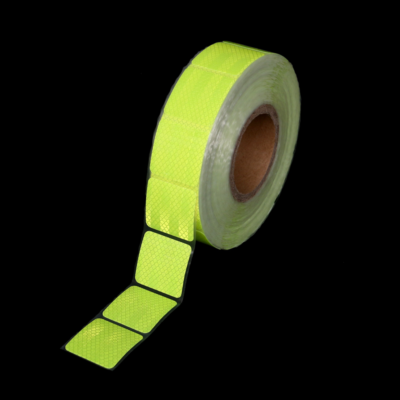 Fluorescent Light Green 45m 5*5cm Chips Super Bright Reflective PET Adhesive Tape Sticker Car Vehicle Motorcycle Warning Decals
