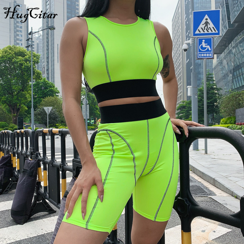 Hugcitar Stripe Lines Patchwork Camis Biker Shorts 2 Piece Set 2019 Summer Women Fashion Casual Streetwear Crop Tops Tracksuit