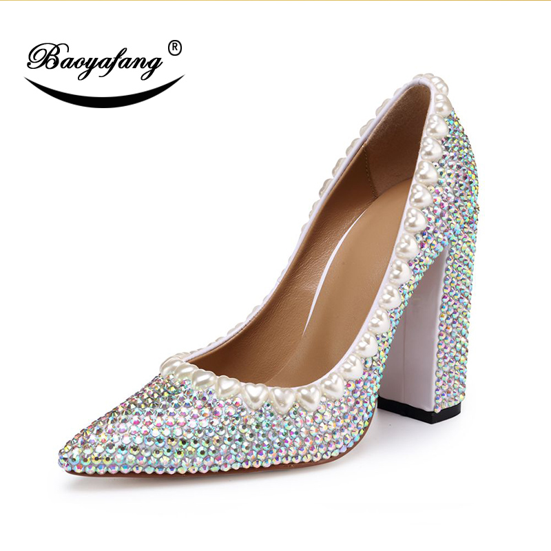 BaoYaFang New Arrival Autumn Pointed Toe Womens Crsytal Wedding shoes High Heels Thick Heel fashion shoes