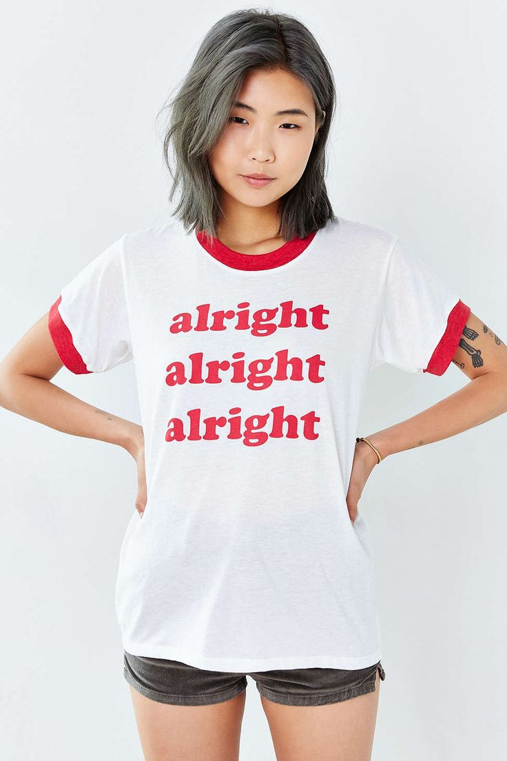 Alright Alright Tumblr Shirts Ringer Tee Red Letter Print Graphic T