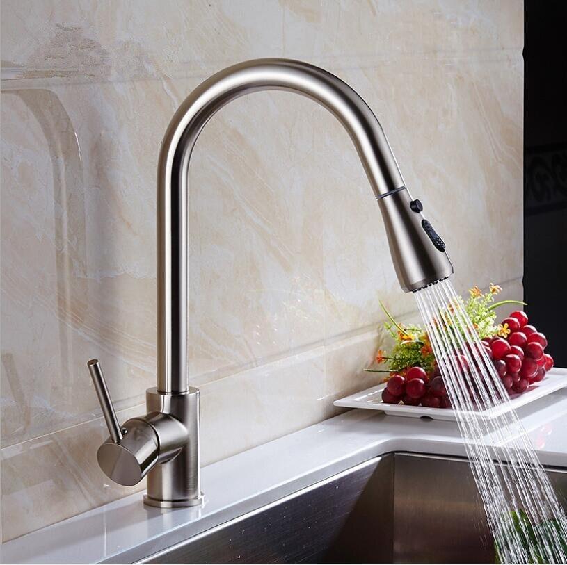 Pull Out Kitchen Faucet Chrome/nickel Sink Mixer Tap 360 degree rotation kitchen mixer taps Kitchen Tap