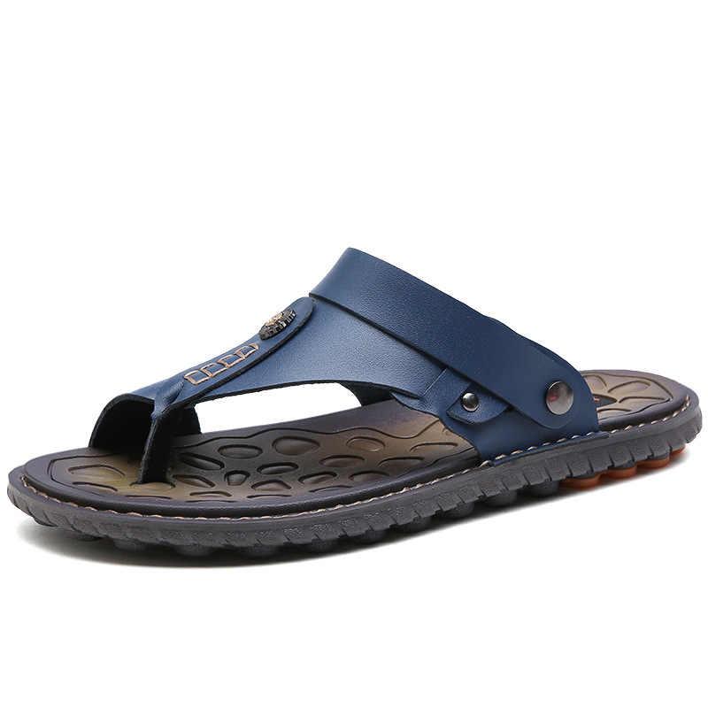 2019 Novos Homens Sandálias Flip Flops Conforto Homens Sapatos Sapatos Masculinos de Couro Genuíno Chinelos Adultos Homens Sapatos de Praia Homens 39 S Sandálias