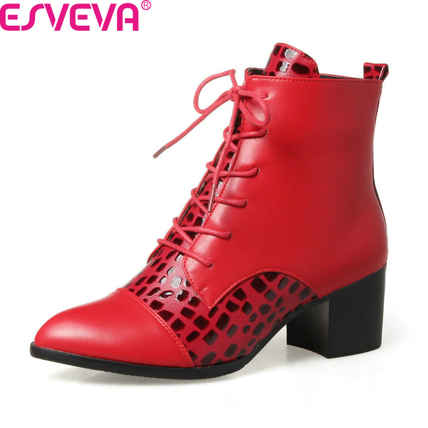 ESVEVA 2018 Women Boots Autumn Winter Shoes Square High Heel Ankle Boots PU Leather Zipper Pointed Toe Ladies Boots Size 34-43 fashion winter women short boots sexy pointed toe platform high heel shoes big size 32 46 solid pu ladies zipper ankle boots