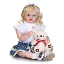 купить Realistic 70CM Silicone Reborn Dolls wear real Baby clothes Dolls big eyes blonde Girl Kids Toy Boneca Model Birthday bebe Gifts дешево