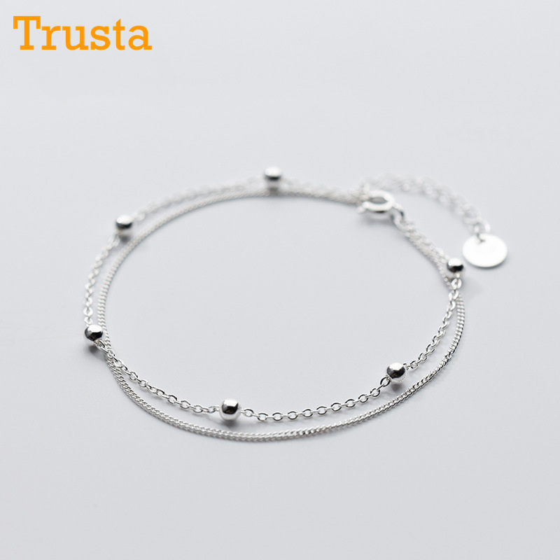 Trusta 100% 925 Sterling Silver Fashion Women's Jewelry Double Layer Beads