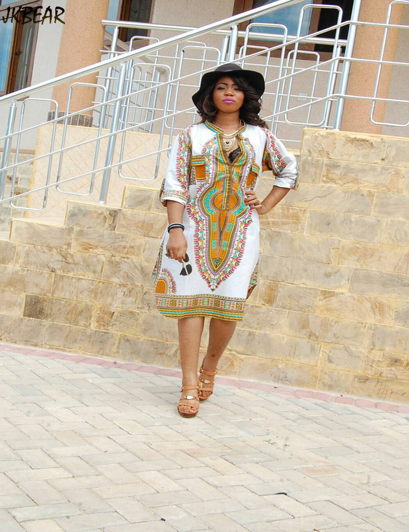 Hot Sale Sexy Deep V Neck African Print Dashiki Wrap Dresses For