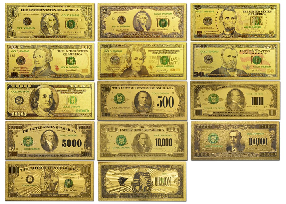 Wr 14 Color Usa Gold Banknotes 1 Billion Dollar World Paper Money Currency America Bill Notes Fake Banknote For Gift In From Home