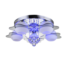 Modern Ceiling Light E26 E27 5 Lights with Red Blue Leds Crystal Acrylic Glass Flush Mount