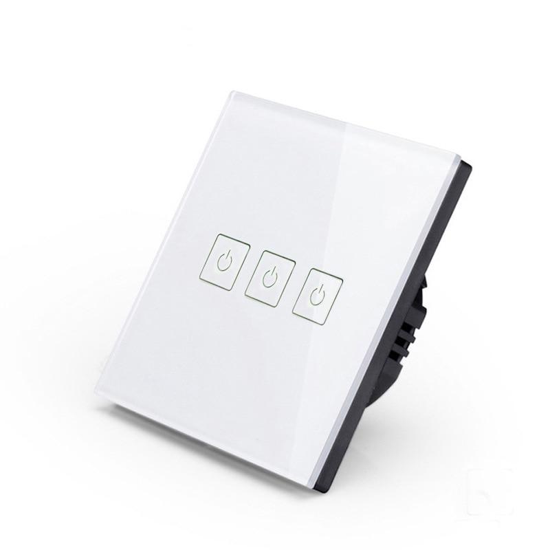 2pcs EU Smart Wifi Remote Control Switch 3 way 86 Wall Light Switch Touch Switch Panel Remote Control Timing 433 White