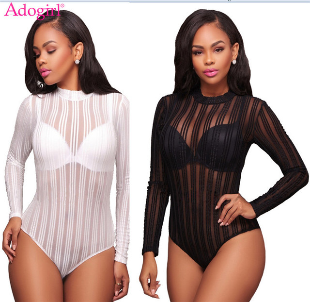 ... Jumpsuit romper Bodysuit  more photos 913b4 9a757 Adogirl Women Long  Sleeve Bodysuits Solid Black White Hollow Out Sexy Sheer ... 39c1e5ae24e