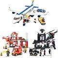 Diy brinquedos educativos para crianças blocos de escritório de bombeiros auto travamento tijolos compatíveis com Lego
