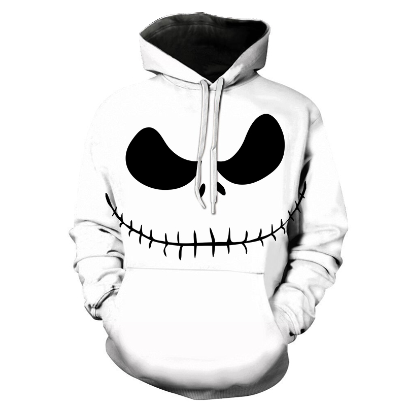 Hot New 2019 Male Sweatshirt Pumpkin King Jack Skellington Evil Smile Pattern Spring Men Hoodies Cool Streetwear Halloween Party