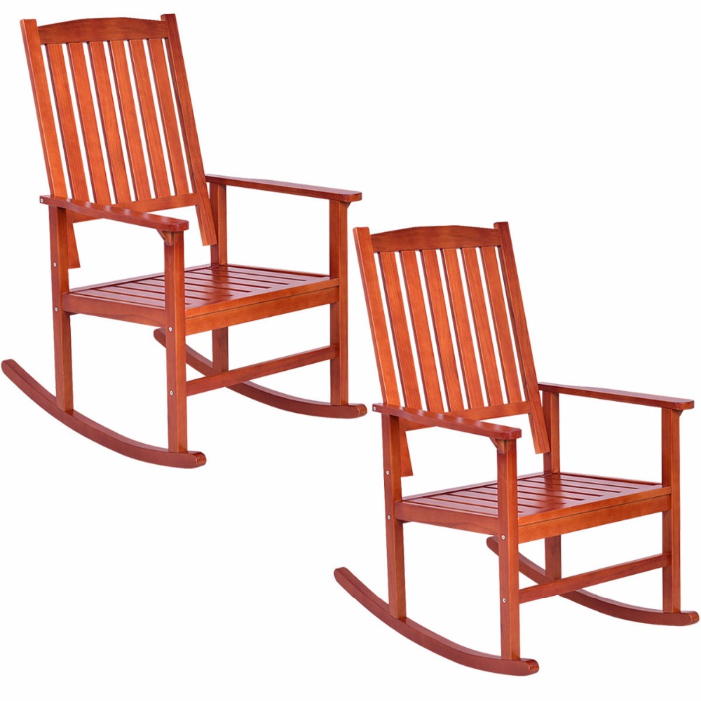 giantex set of 2 wood rocking chair porch rocker indoor outdoor patio deck furniture new living. Black Bedroom Furniture Sets. Home Design Ideas