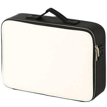 Skórzana kosmetyczka Clapboard profesjonalne pudełko na przyrządy do makijażu duża pojemność przechowywania torebka podróżna wkładka kosmetyczka makijaż walizka