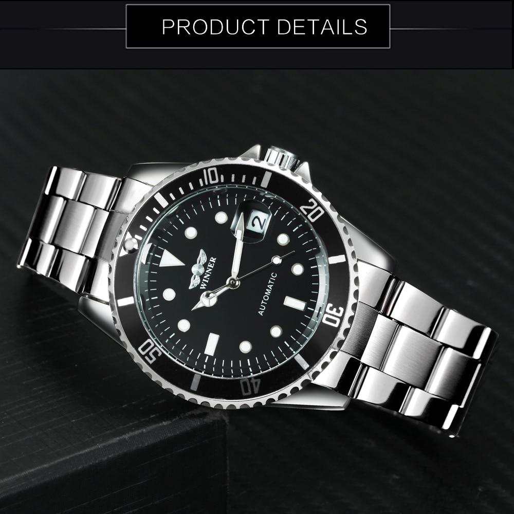 Image 3 - WINNER Official Classic Automatic Watch Men Business Mechanical Watches Top Brand Luxury Steel Strap Calendar Wristwatches hotwatch stainlesswatch stainless steel strapwatch f -