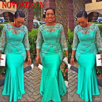 Turquoise African Mermaid Evening Dress 2019 Vintage Lace Nigeria Long Sleeve Sexy Prom Dresses Evening Party Gowns