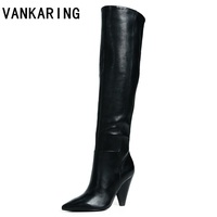 VANKARING brand shoes cow leather+pu knee high boots for women sexy pointed toe riding boots high heels winter snow boots women