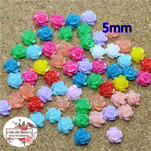 500pcs 5mm Mixed Color Shiny Flower Resin Flatback Cabochon DIY Jewelry/phone Decoration No Hole