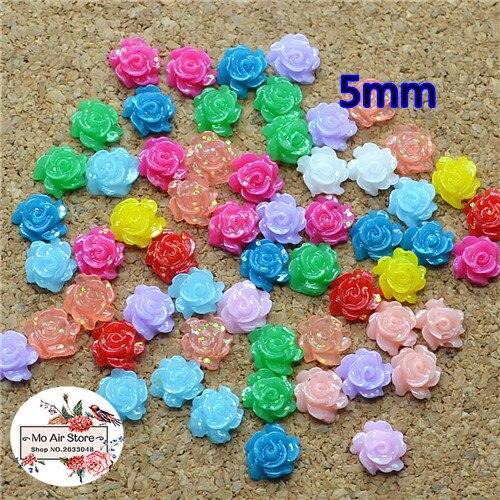 500pcs 5mm Mixed Color Shiny Flower Resin Flatback Cabochon DIY Jewelry/phone Decoration No Hole