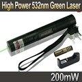 Высокая Сила 532nm 200 МВт Зеленая Лазерная Указка Pen масштабируемые Горящий Матчи Лазер Лазерная 301 + 18650 Батарея 4000 мАч + зарядное устройство
