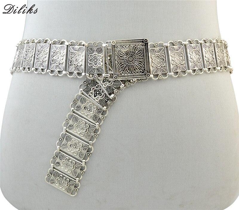Diliks femmes ceinture fleur alliage fille ceinture alliage réglable dame ceintures Vintage sangle fille boucle ceinture ceinture