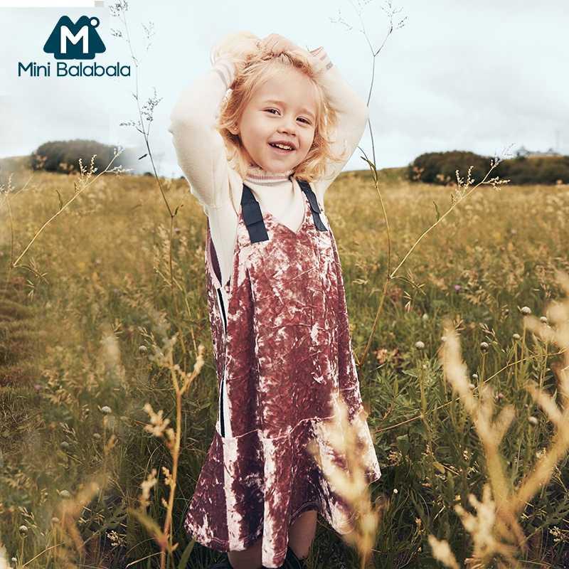 MiniBalabala/детское приталенное велюровое платье для девочек бархатные платья праздничные платья без рукавов детская одежда для маленьких девочек