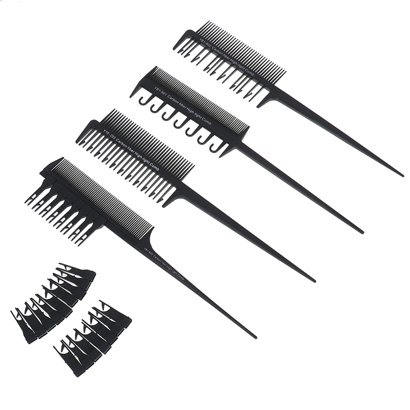 1Pcs Professional 2 Side Hair Dyeing Comb Salon Hair Coloring Styling Adjustable Sectioning Highlight Comb Weaving Cutting Brush