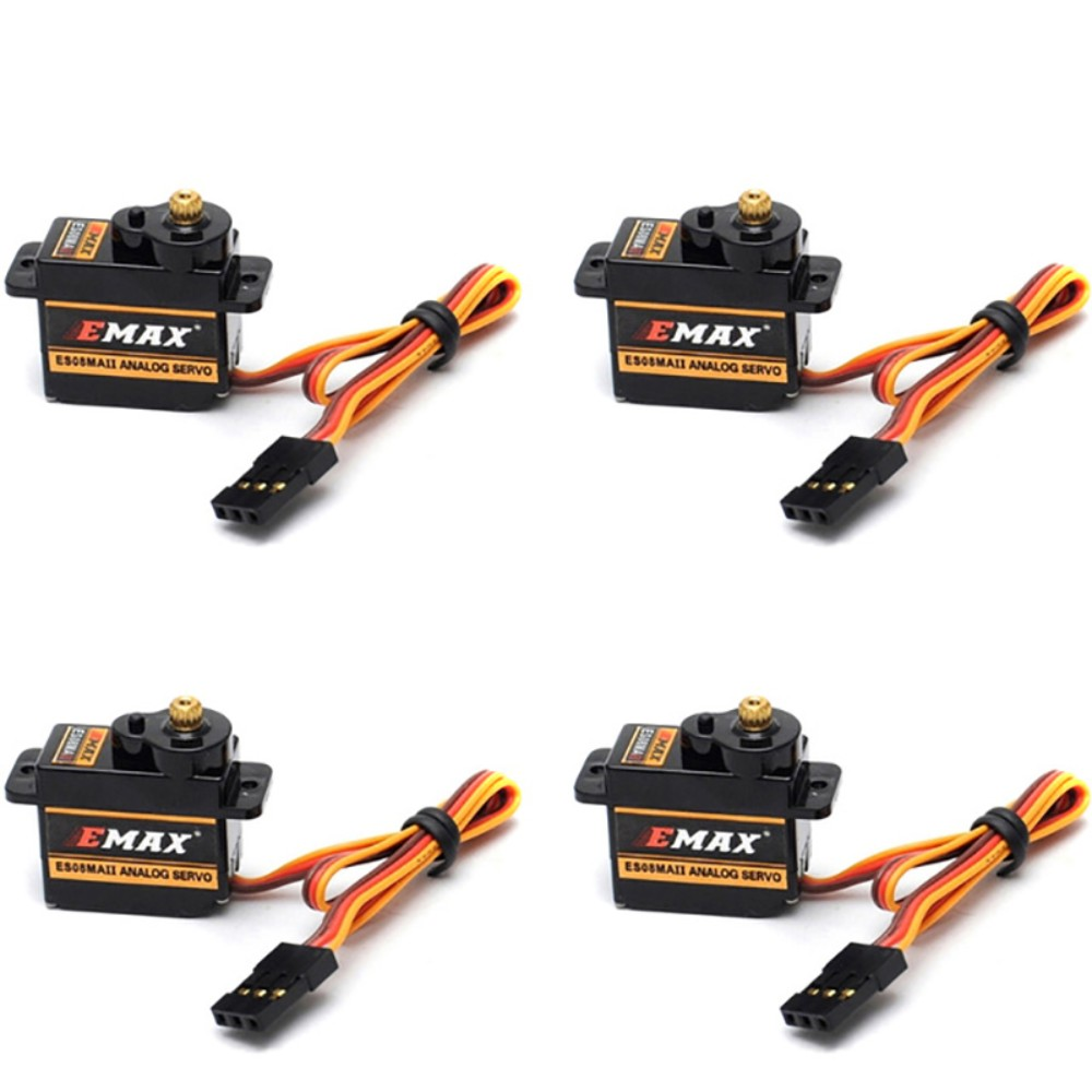 4pcs/lot EMAX ES08MA II Mini Metal Gear Analog Servo for RC Motor Replacement Parts Accessories for Fixed Wing 450 Helicopters 1pc original emax es08ma ii mini metal gear analog servo 12g 1 8kg high speed upgrade es08ma