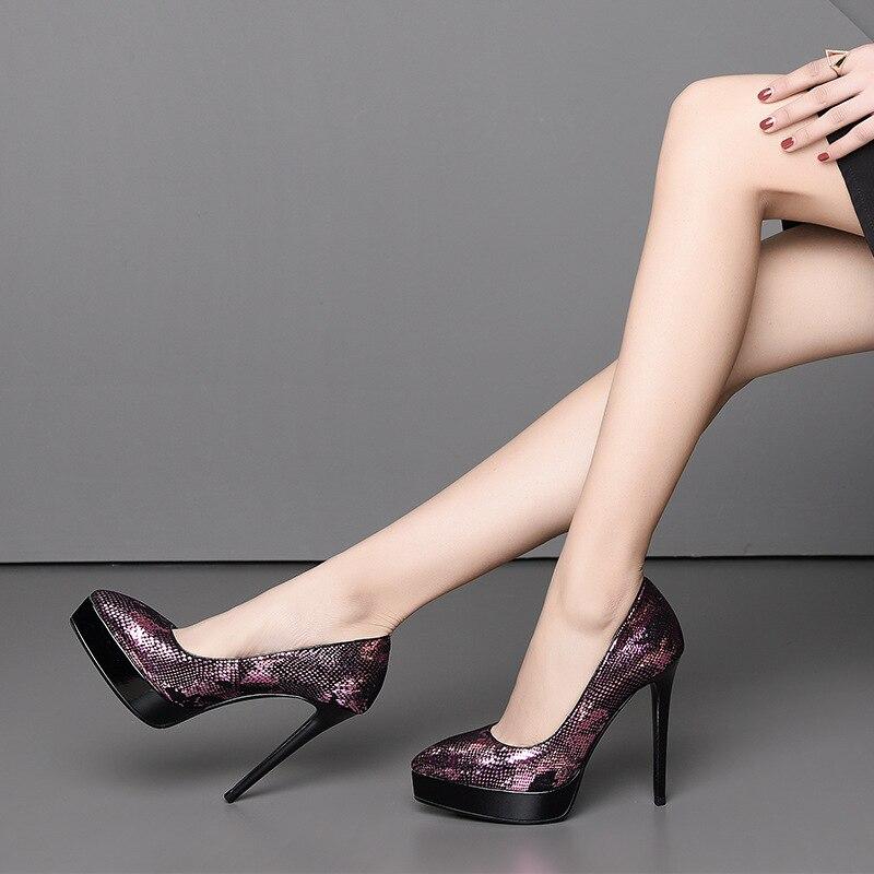 2019 spring and autumn new leather super high heel women's shoes pointed waterproof platform stiletto fashion nightclub women's