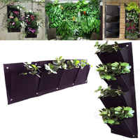 2019 Newest Fashion Home Decor 4 Pocket Planting Bag Solid Wall Vertical Greening Hanging Garden Outdoor Hot Sale