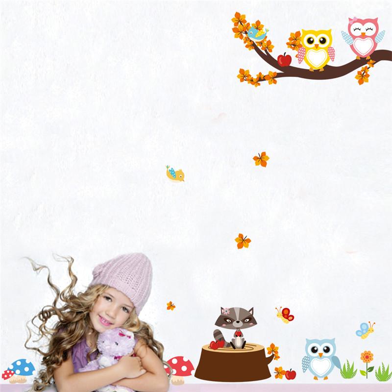 HTB1ZBrWPpXXXXbJXVXXq6xXFXXXr - Jungle Forest Tree Animal Owl Monkey Bear Deer Wall Stickers For Kids Room
