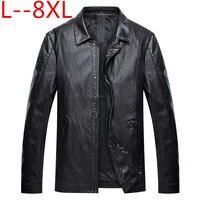Большие размеры 8XL 6XL 5XL Новая мода Для мужчин одежда весна из натуральной кожи куртка Однобортный пальто осень овчины кожаные пальто