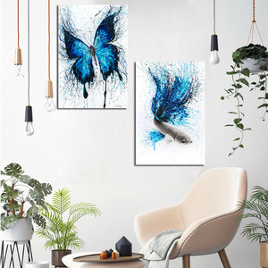 Minimalist Blue Butterfly Fish Animal Canvas Painting Poster Print Nordic Scandinavian Art Nursery Wall Picture For Kid Room