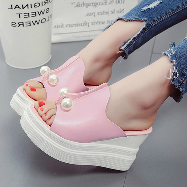 ff1e925aa6c7 Designer Women Summer Hot sales Fashion New Sandals Thick Heel Platform  Wedges Sexy Beading Slippers shoes woman ZY0206