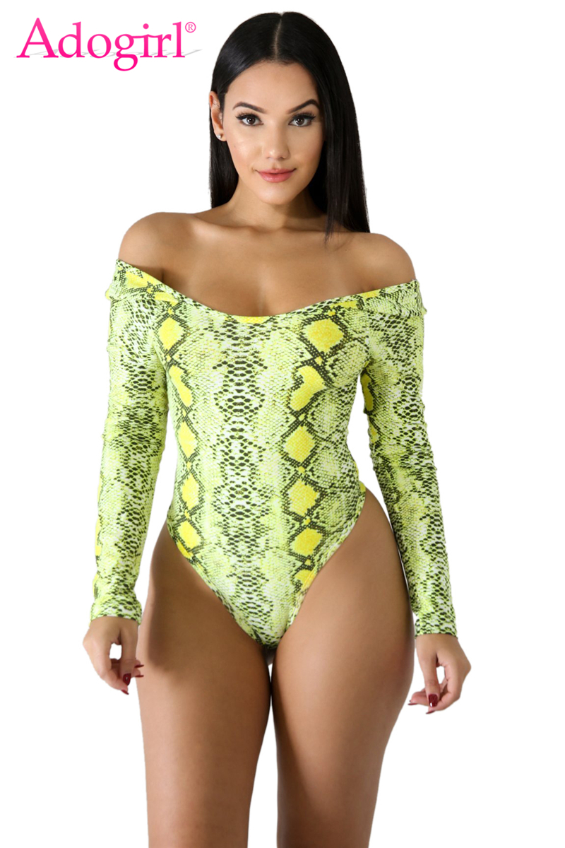 Adogirl Women Sexy Snakeskin Print Bodysuits Scoop Neck Long Sleeve Casual Romper Fashion Tops Summer Swimwear Swimming Suit