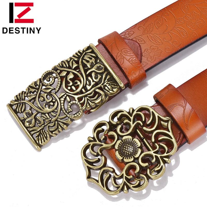 DESTINY famous brand women belt designer genuine leather Vintage Carved Flower Strap girls ladies' belts for jeans smooth buckle