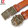 DESTINY famous brand women belt designer genuine leather Vintage Carved Flower Strap girls ladies' belts for jeans smooth buckle
