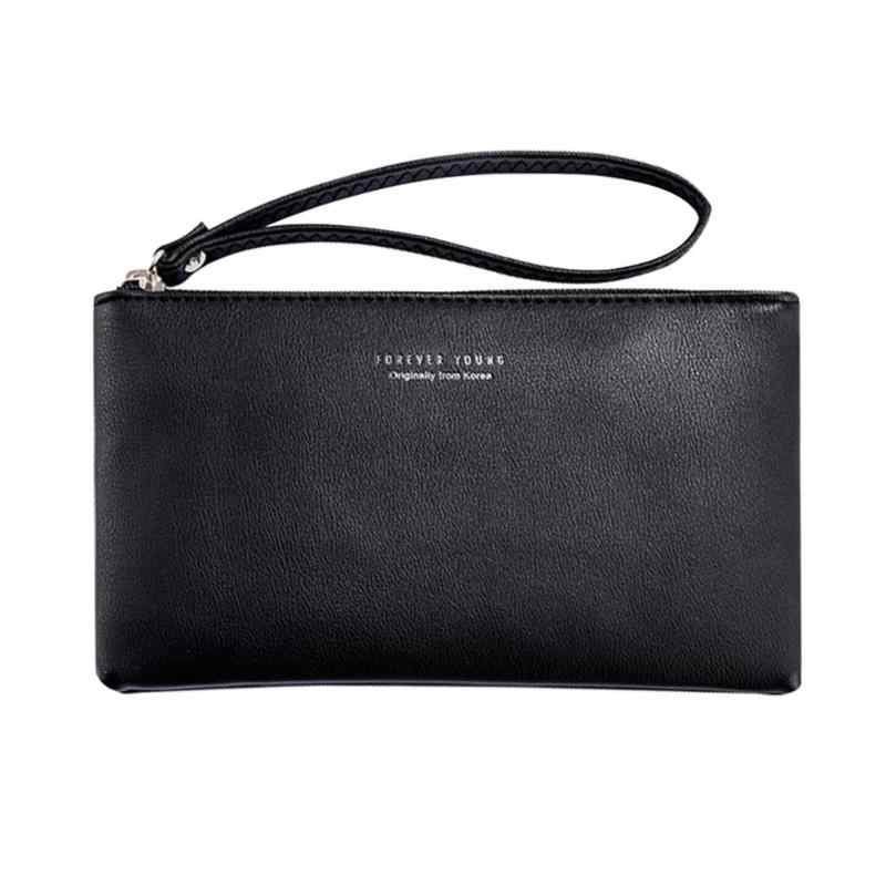 f22c82553ba0 ... Women s Clutch Bag Simple Black PU Leather Handbag Enveloped Shaped  Small Clutches for Women Phone Money ...