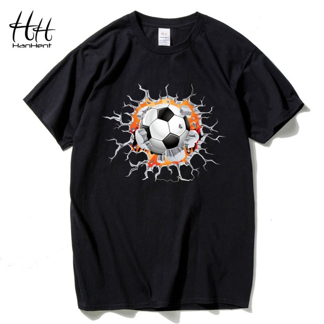 HanHent Creative Crack 3D T-shirt footballer Men Fashion Cotton Brazil Tshirts Funny Tops Tees Fitness Bodybuilding T shirts Man