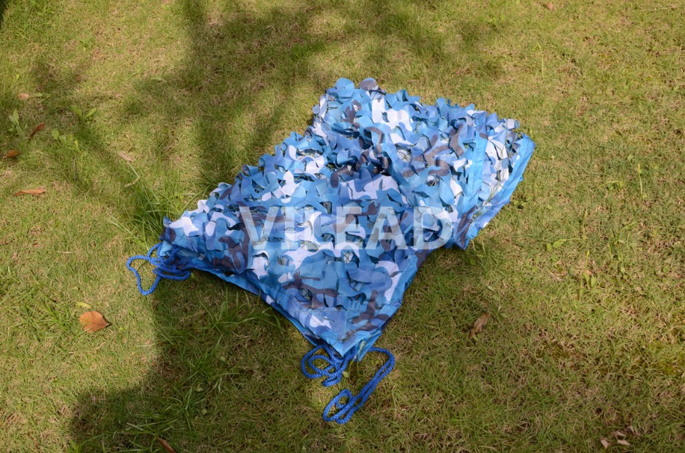 VILEAD 3.5M*6M Filet Camo Netting Blue Camouflage Netting Camo Tarp Fishing Tent Beach Tent Silicone Tarp Camping Shade Canopy 5m 9m filet camo netting blue camouflage netting sun shelter served as theme party decoration beach shelter balcony tent