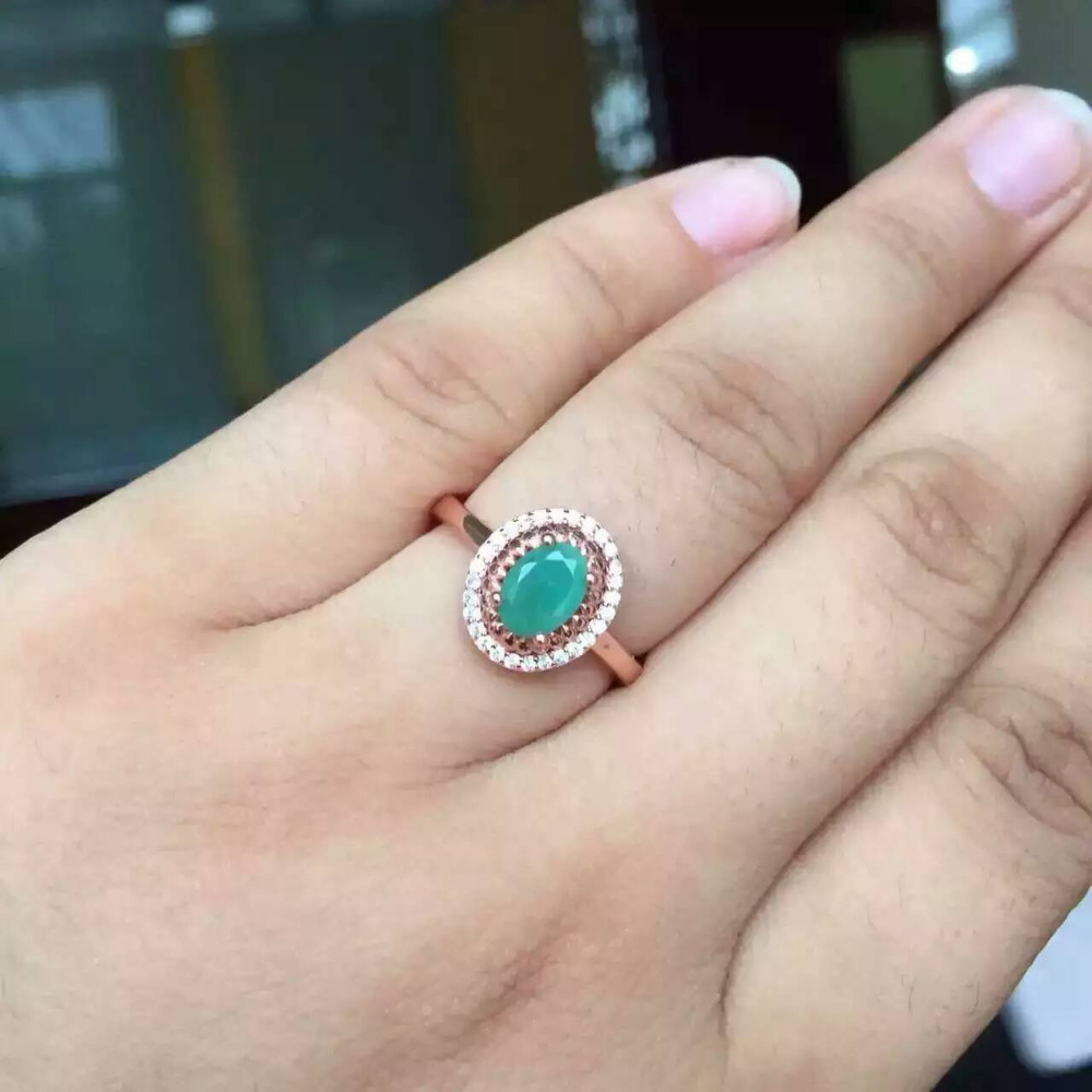 Natural green emerald stone gem Ring Natural olivine ring 925 sterling silver trendy elegant Simple round women party Jewelry