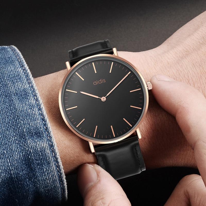 Addies Top Business Watches Fashion Simple Men ladies Watch casual Waterproof Quartz Classic Leather Wristwatch