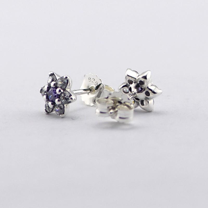 2016 Spring Jewelry Forget Me Not Earrings For Women Jewelry 925-Sterling-Silver Purple&Clear CZ Earring Women Fine Jewelry  (3)