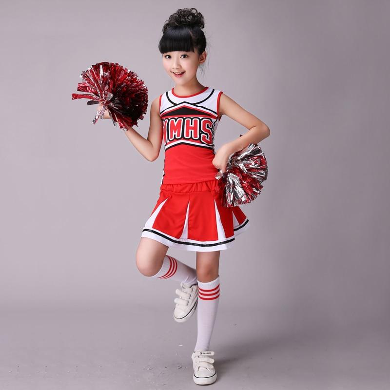 עם 2 יחידות פום Poms מעודדת שרוולים בנות ריקוד תלבושות מעודדת תלבושות מודרני ריקוד תחפושות ילדים מעודדות costum