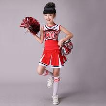 Mouwloze jongens meisjes dans kostuum cheerleader kostuum moderne dans kostuums voor kinderen lange mouwen cheerleader kostuum jongens girs
